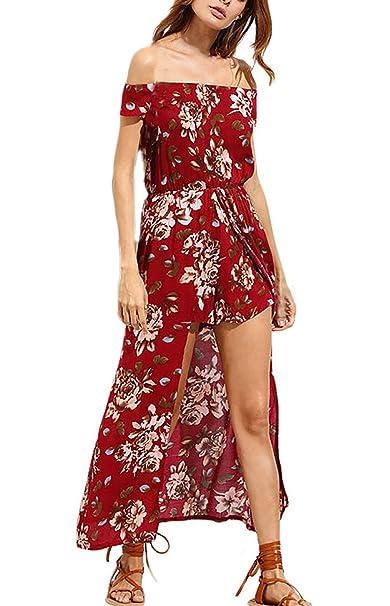 Vestidos Maxi Mujer Vintage Moda Floreadas Vestido Playa Único Manga Corta Sin Tirantes Irregular Asimetricos Vestidos