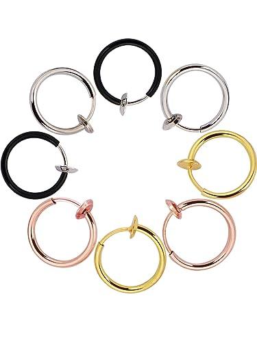 6 Pairs Multisize Fake Earrings Hoop Non-pierced Nose Ring Spring Hoop Earrings Lip Ear Clip 5qdMQoD
