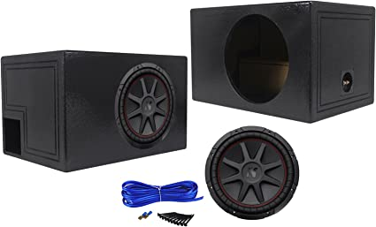 "Kicker 12/"" Comp 43C124 600 Watts Subwoofers 2 Vented Dual Sub Box Enclosure"