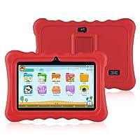 Ainol Q88 - Niños Tablet Android 7.1 OS Pantalla de 7 pulgadas 1G RAM +16 GB ROM Peso ligero Portable Kid-Proof Funda de silicona a prueba de golpes Kick Stand Disponible con Niños Educación Entretenimiento - Rojo