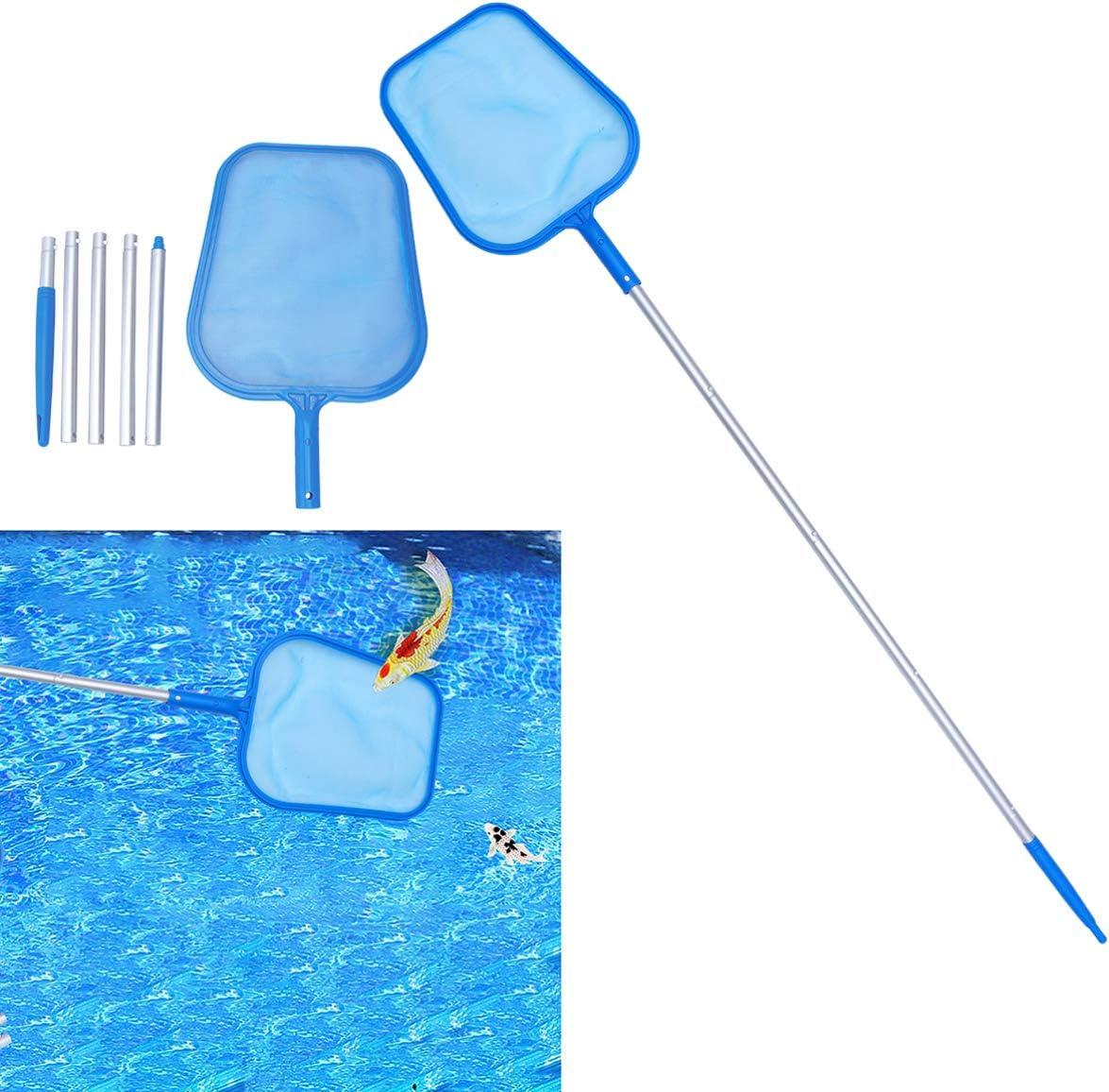 Cabilock Pool Supply Professional Swimming Pool Leaf Skimmer Net Aluminum Pole Fine Mesh Netting Bag Basket for Fast Cleaning of the Finest Debris Clean Spas Ponds 122cm