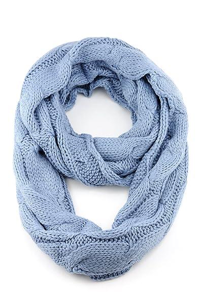a5e5bc0ce NYFASHION101 Soft Winter Warm Chunky Knit Cowl Infinity Loop Scarf, Denim