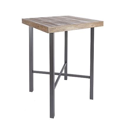 Silverwood FD1055 COM Fowler Industrial Pub Table With Wood Top, 32u0026quot; X  32u0026quot
