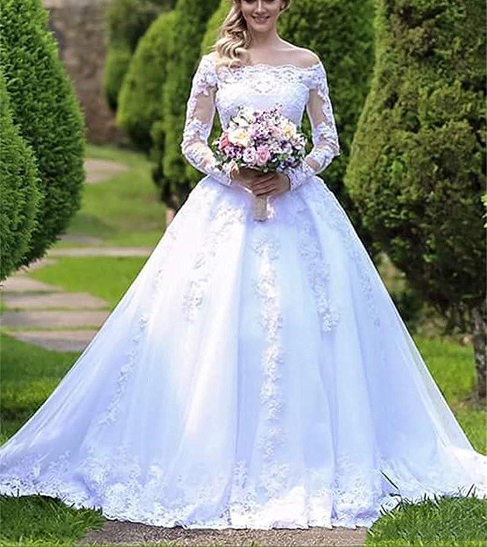 Doragrace Womens Off-Shoulder Court Train Long Sleeve Lace Wedding Bridal Gown