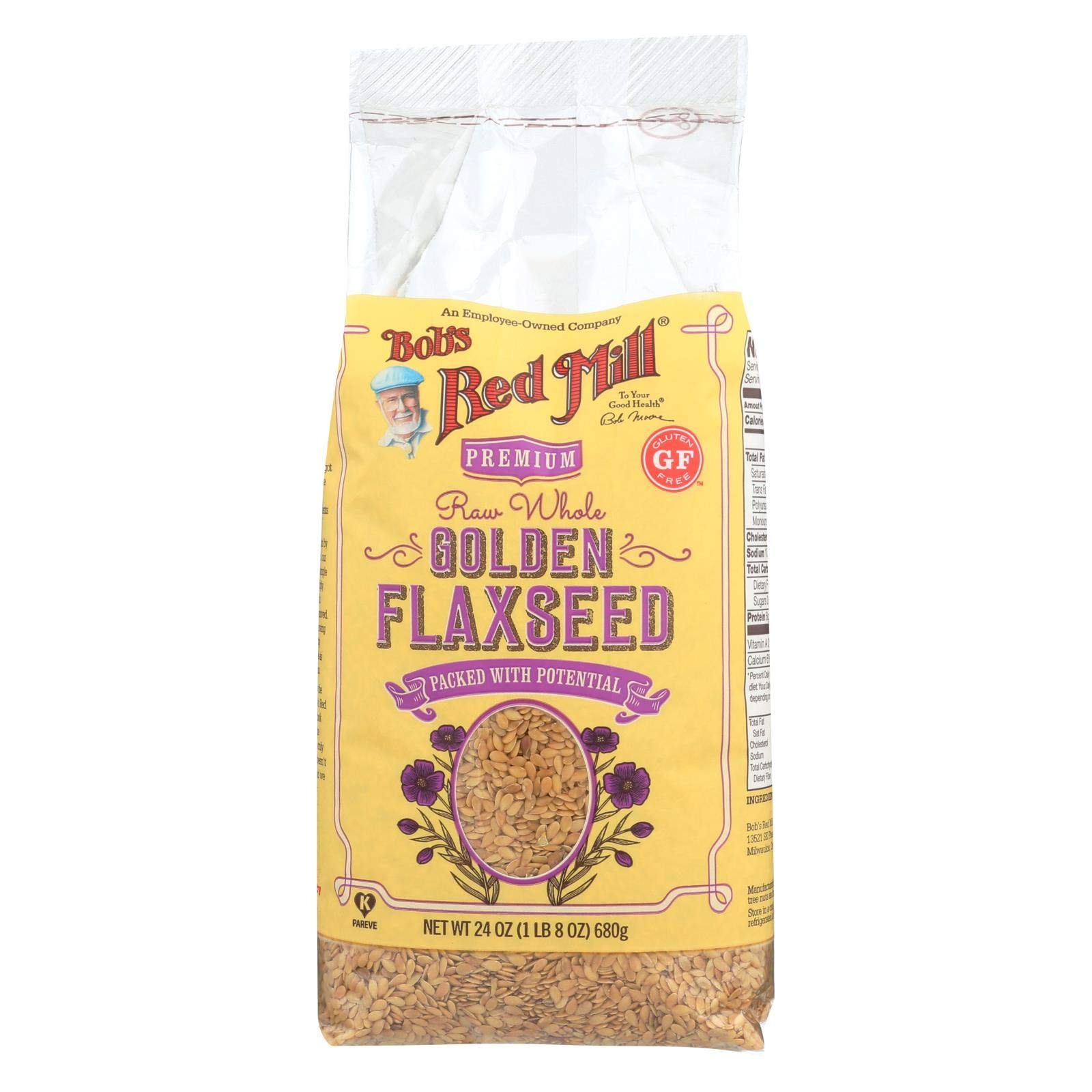 Bob's Red Mill Raw Whole Golden Flaxseed - 24 oz - Case of 4