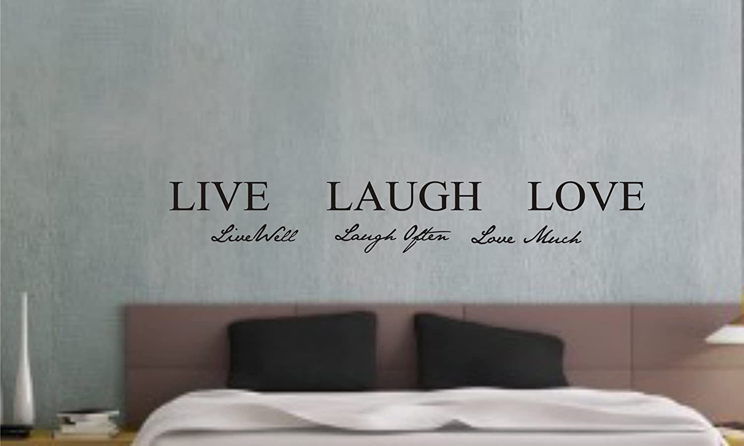 amazon com live well laugh often love much vinyl wall art amazon com live well laugh often love much vinyl wall art inspirational quotes and saying home decor decal sticker steamss home kitchen