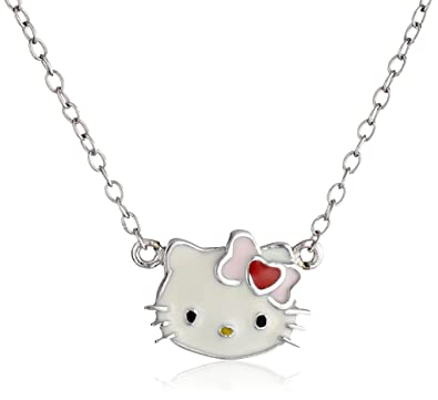 803f1b680 Amazon.com: Hello Kitty Streling Silver Heart Bow Enamel Pendant Necklace:  Jewelry