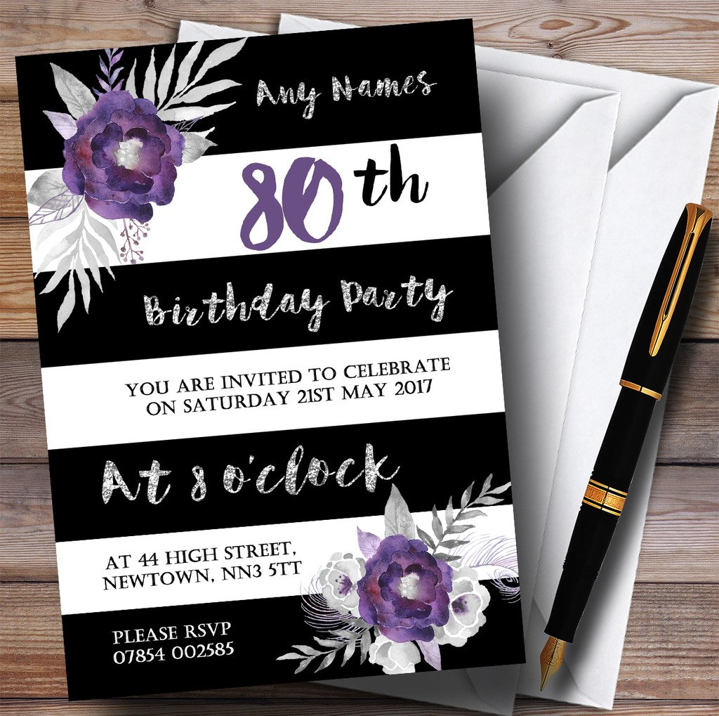 Black White Silver Purple Flower 80th Personalized Birthday Party Invitations