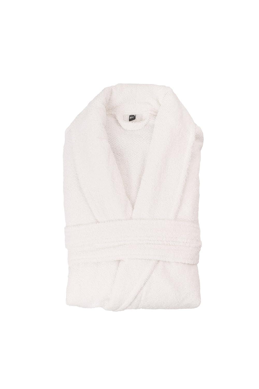 CASA DI BASSI 0764272195429Shawl Collar White XL/XXL–Albornoz, algodón, Blanco, 140x 76cm