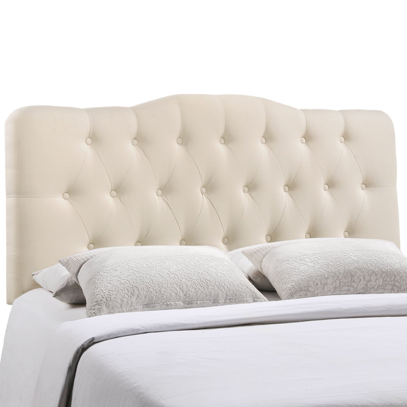 Modway Annabel Tufted Button Linen Fabric Upholstered Queen Headboard in Ivory