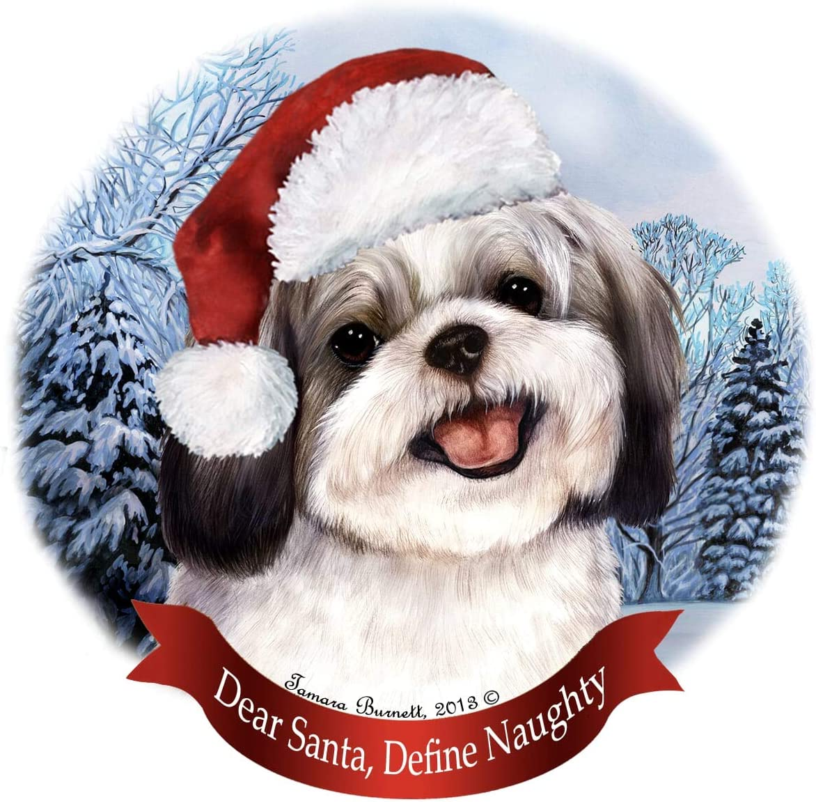 Amazon Com Holiday Pet Gifts Silver White Shih Tzu Santa Hat Dog Porcelain Ornament Home Kitchen