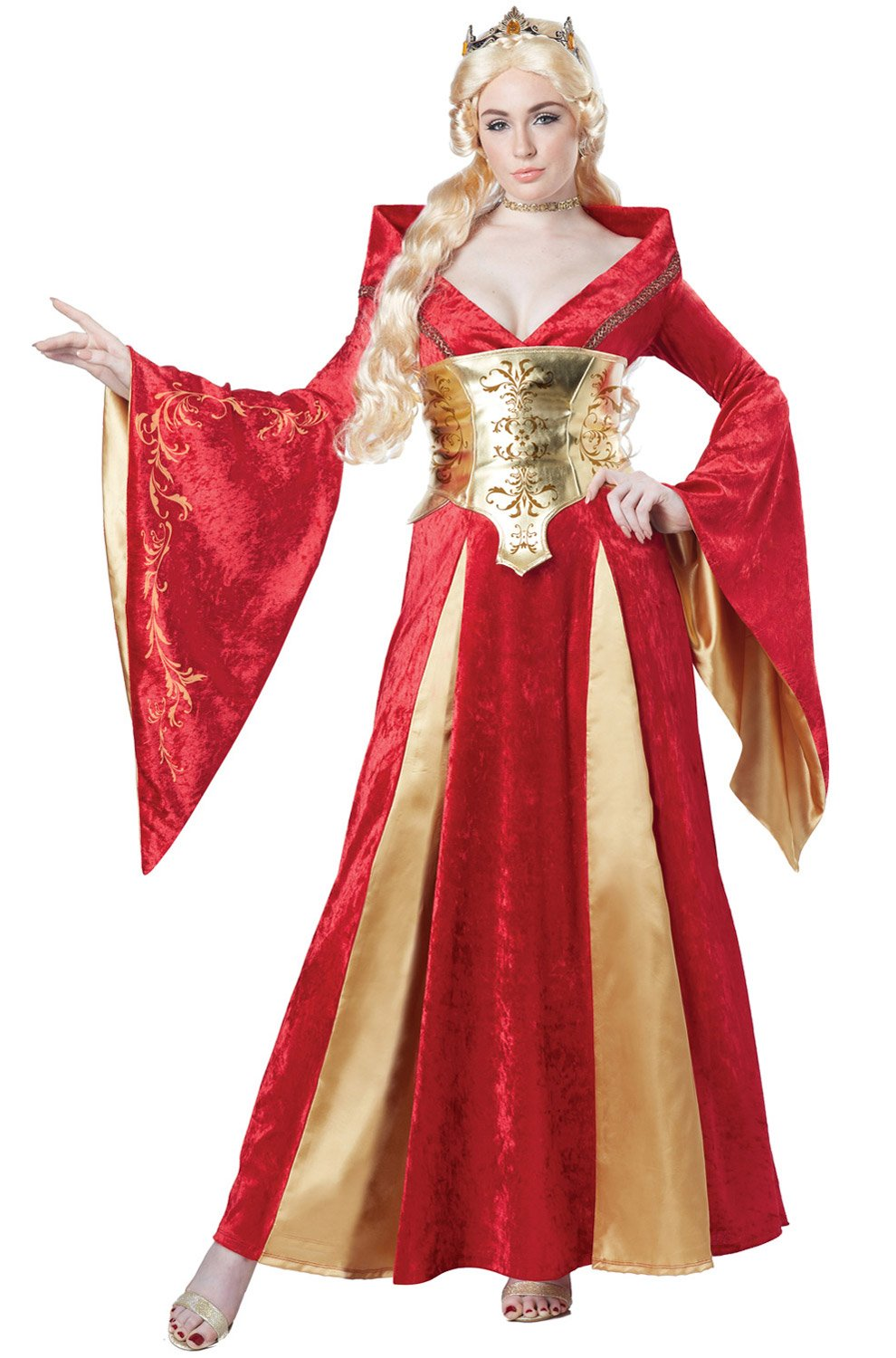 California Costumes Women's Medieval Queen Costume, Red/Gold, Large