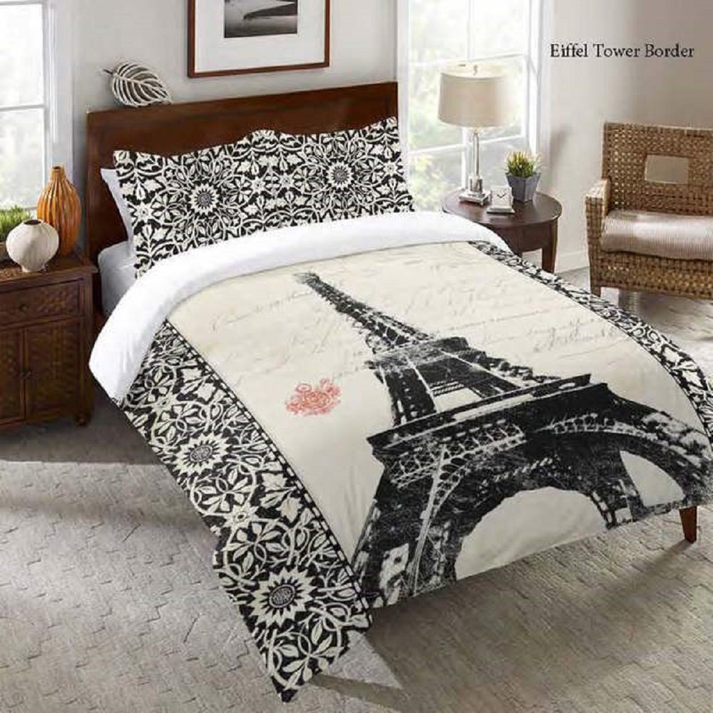 1 Piece Kids Eiffel Tower Print Comforter Set King Size, All Over Paris Travel Theme, Multi Motif Floral France Inspire Bordered, High-Class Love Sayings Pattern Bedding, Vibrant Colors Black White