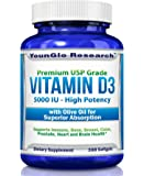 Vitamin D3 5000 IU - In Non GMO Organic Olive Oil - Powerful Health Benefits - 360 Softgels (1 Pack)