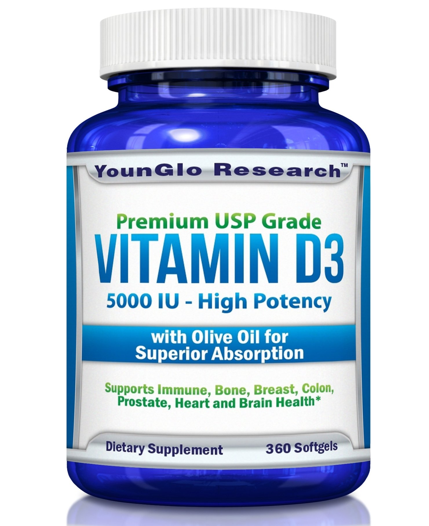 Vitamin D3 5000 IU - In Non GMO Organic Olive Oil - Powerful Health Benefits -