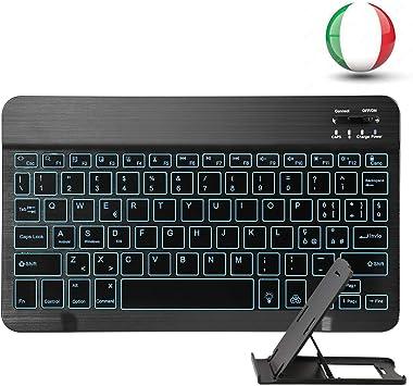MINLIDAY - Teclado Italiano retroiluminado, Bluetooth, Ultrafino, para iOS, Windows, Android, Tablet, PC, portátil, Huawei, Galaxy Tab, ASUS y ZenPad ...