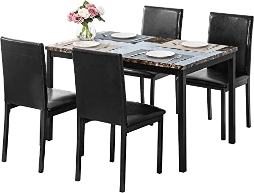 PUG258Y 5-Piece Kitchen Marble Dining Table Set
