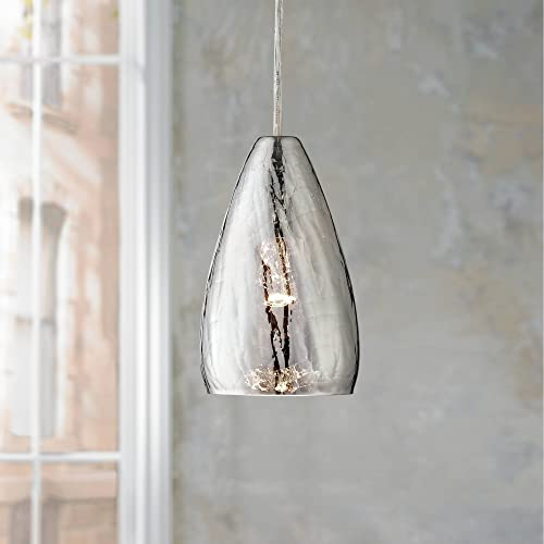Portico Chrome Mini Pendant Light 5 Wide Modern Vacuum Plated Crackle Glass Fixture for Kitchen Island Dining Room – Possini Euro Design