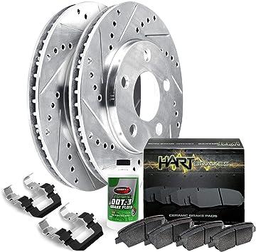 Fits:- RAV4 4 Ceramic Pads 5lug High-End Front Kit 2 Cross-Drilled Disc Brake Rotors