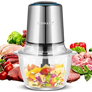 Electric Meat Grinder, MOSAIC 400W Food Processor for Vegetables Fruit Salad Onion Garlic with 4 Detachable Titanium Coating Blades and 5-Cup Food Grade Glass Bowl Food Chopper Silver