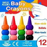 Finger Crayons for Toddlers, MiMoo 12 Colors Paint Crayons for Babies Non Toxic Toddler Crayons Washable Finger Paint for Toddlers, Kids, Children, Boys and Girls