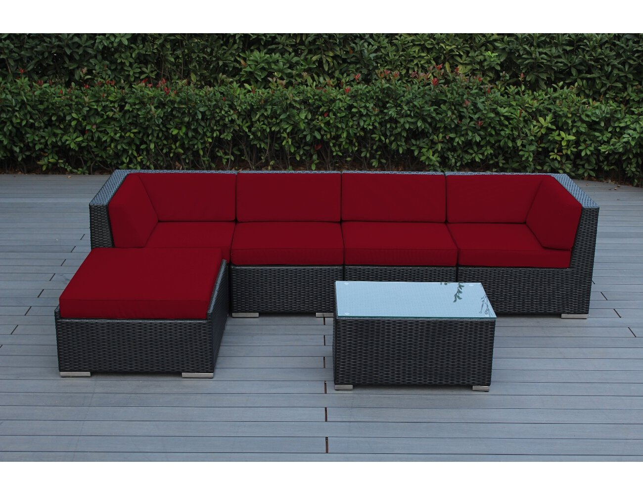 Amazon.com  Ohana 6-Piece Outdoor Wicker Patio Furniture Sectional Conversation Set with Weather Resistant Cushions Red (PN0609RD)  Garden u0026 Outdoor : patio furniture sectional - Sectionals, Sofas & Couches