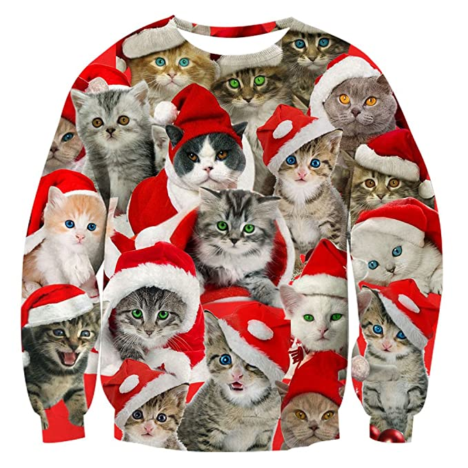 RAISEVERN Unisex Fun Christmas Sweaters Women Cute Kitten Print
