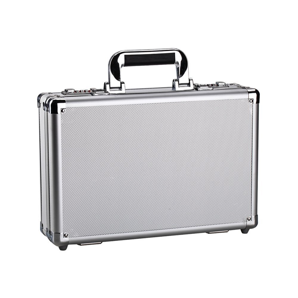 Aluminum Hard Shell Case Briefcase Portable Carrying Case Small Toolbox Equipment Cases Sliver by Bory