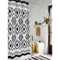 HAOCOO - Cortina de ducha de tela boho, color blanco y negro, para baño, diseño geométrico tribal, con ganchos…