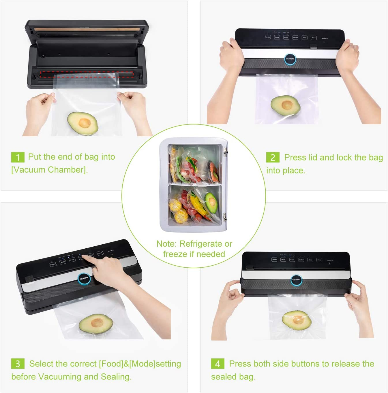 Machine sous Vide Automatique GERYON E2901-M Appareil de Mise sous Vide Alimentaire avec Coupeur LED Indicateur Scelleuse Emballeuse Portable pour Aliments Secs et Humides