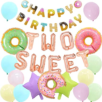 Amazon Com Donut 2nd Birthday Two Sweet Birthday Party Supplies With Donut Foil Balloons Two Sweet Balloons Happy Birthday Banner Toys Games