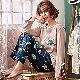 夷榀 睡衣女春秋季薄款纯棉长袖套装韩版甜美可爱可外穿夏季家居服秋天