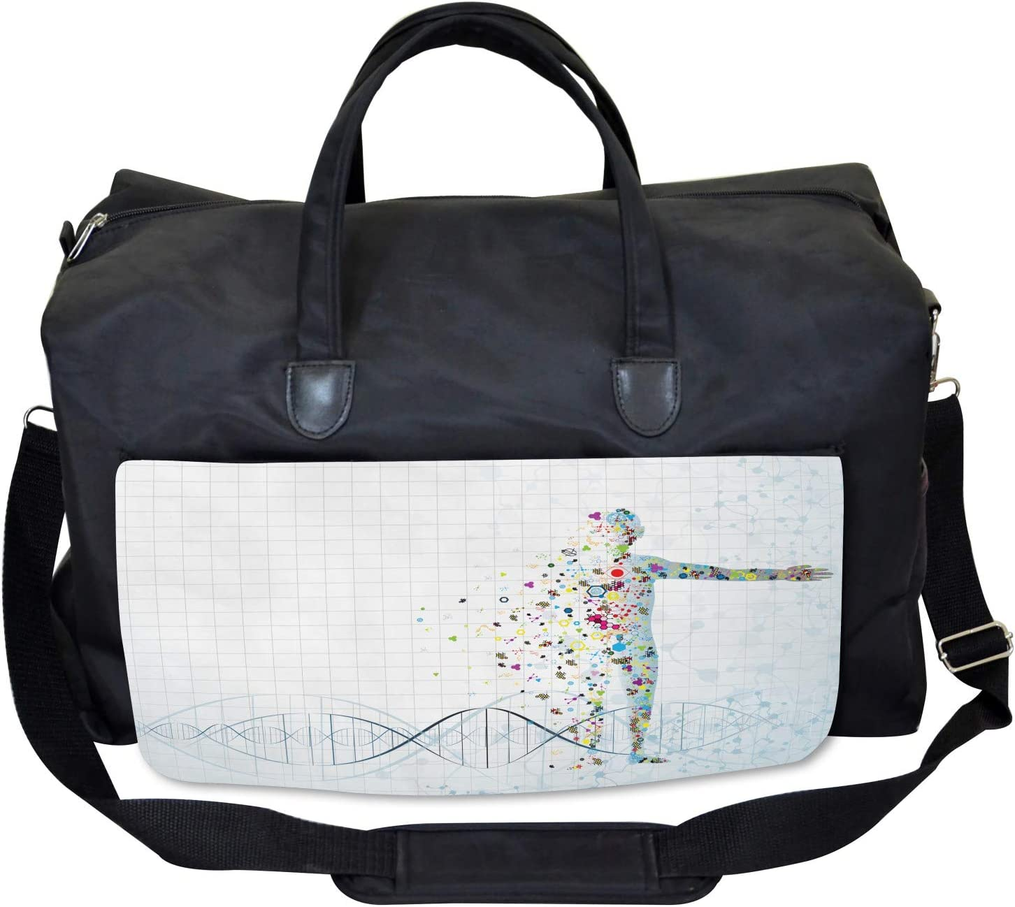 Ambesonne Digital Gym Bag Psychedelic Human Large Weekender Carry-on
