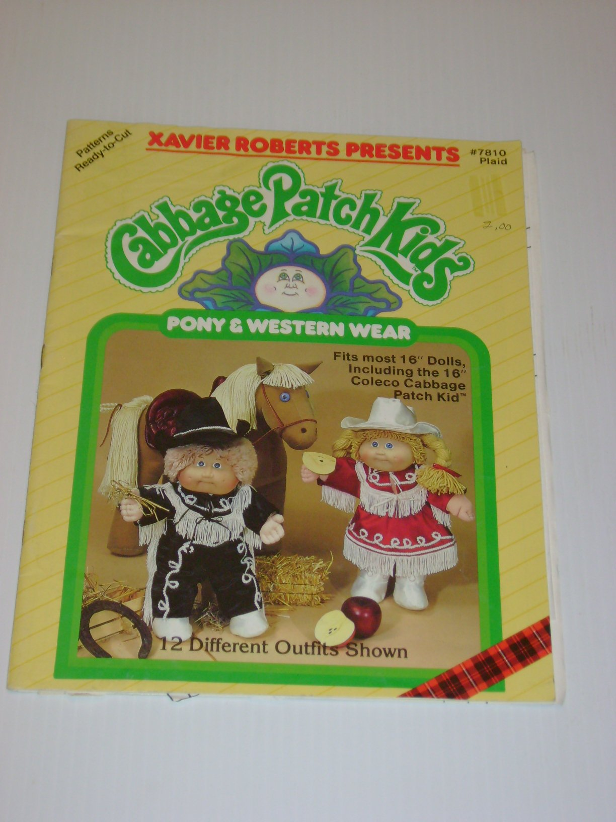 Cabbage Patch Kids Pony & Western Wear ; 16'' Dolls Clothes 12 Outfits ; #7810 Plaid