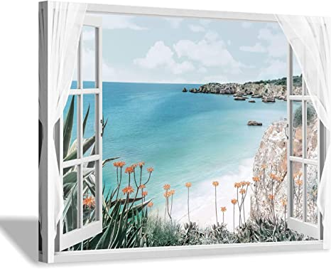 Hardy Gallery Coastal Painting Seascape Wall Art Open Window View Picture Blue Ocean Beach Artwork On Canvas For Bedroom 16 X 12 X 1 Panel Posters Prints