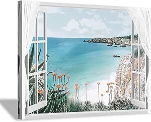 Canvas Picture Wall Art Window View North Sea Beach Sea