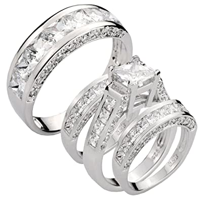 71Z fkXVLgL. UY395  - Bride And Groom Wedding Ring Sets For Cheap