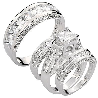Amazon Com  Ct Princess Cubic Zirconia Bride And Groom Sterling Silver Wedding Ring Set Sz  Jewelry