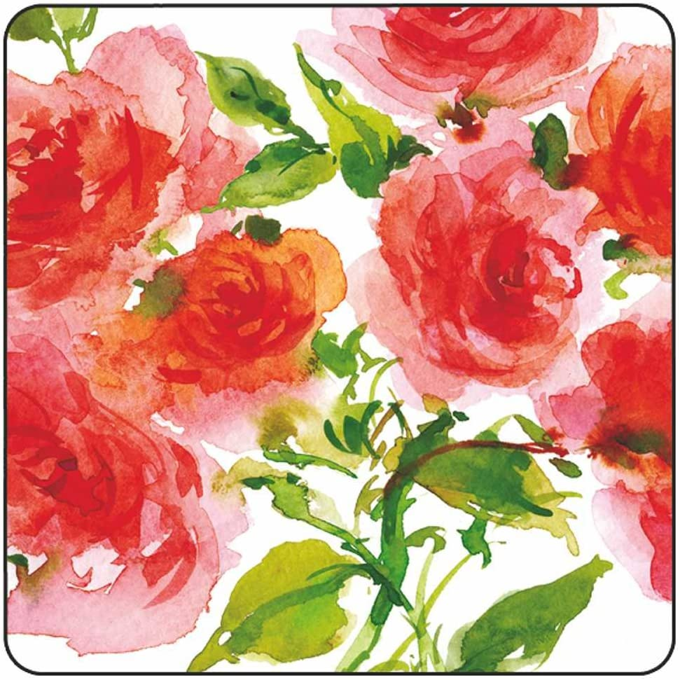 10 Square plates Pink Paperproducts Design PPD 88210 Wild Roses Dinner Paper Plates Eight