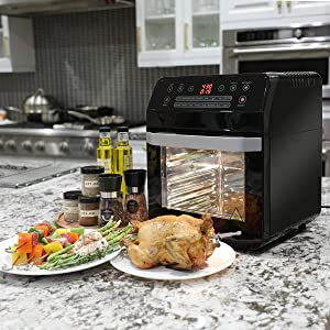 Barton 1600w XL Digital Electric Air Fryer Oven Cooker 16-Cooking Functions Settings 13 Quart Oil Free Fryer Oven