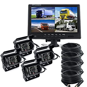 Ehotchpotch 4 Channel Video Inputs & 9 inch TFT LCD CCD Mirror Monitor & 4 Night Vision Rearview Backup Camera & 4 Pin Cable for Bus, Truck, Heavy Equipent Vehicles