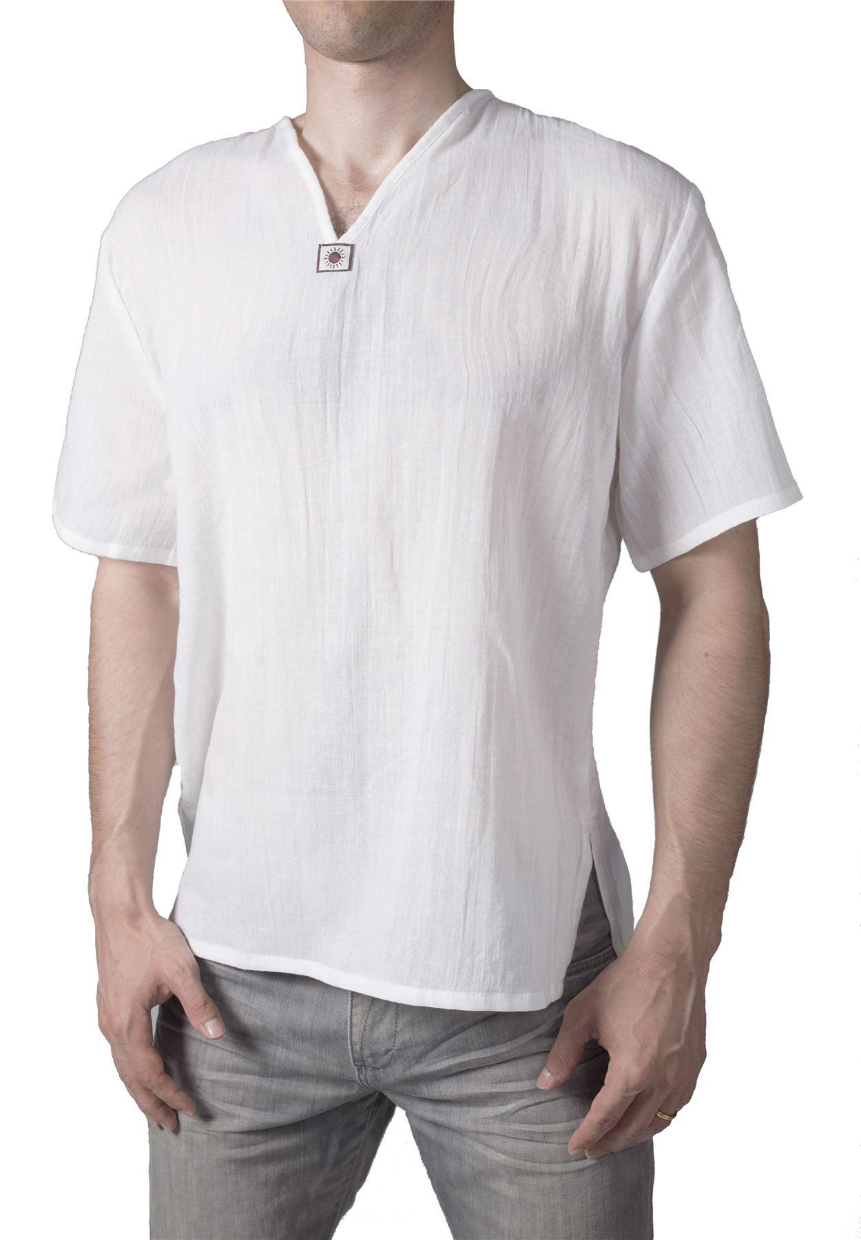 Lofbaz Men's V-Neck T-Shirt Short Sleeve 100% Cotton Thai Hippie White Size L