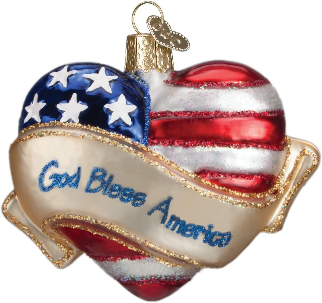 Old World Christmas Assortment Glass Blown Ornaments for Christmas Tree God Bless America Heart