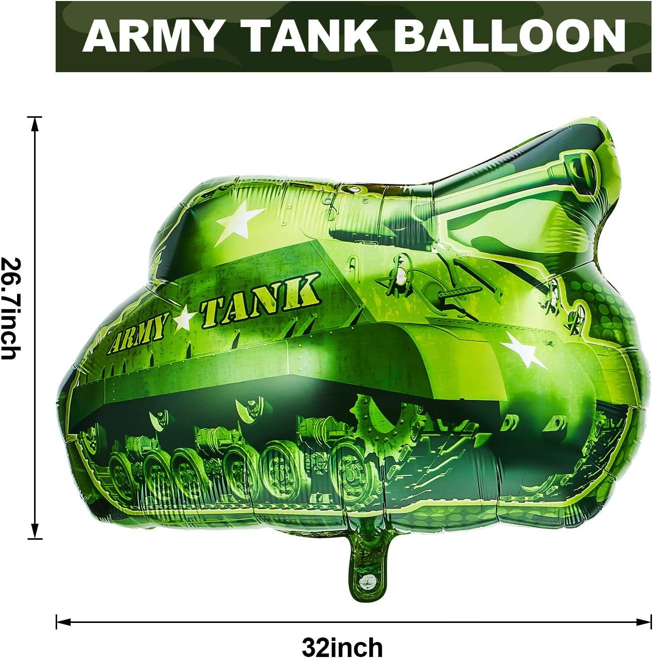 6 Pieces Army Tank Foil Balloon Tank Shape Mylar Balloons Camouflage Count Party Supplies Birthday Balloons for Army Themed Party Birthday Party Celebrations