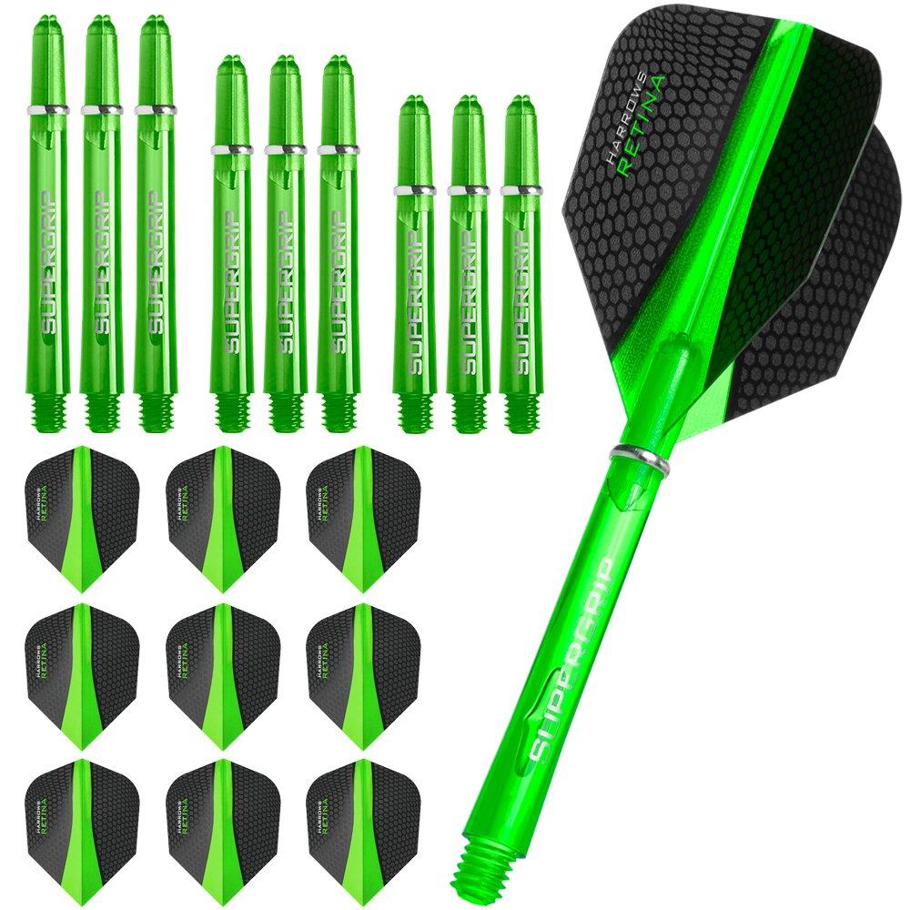 Harrows, 3 confezioni di alette e steli per freccette Retina, 3 set (9 pezzi), con presa Supergrip, colore: verde Y1015