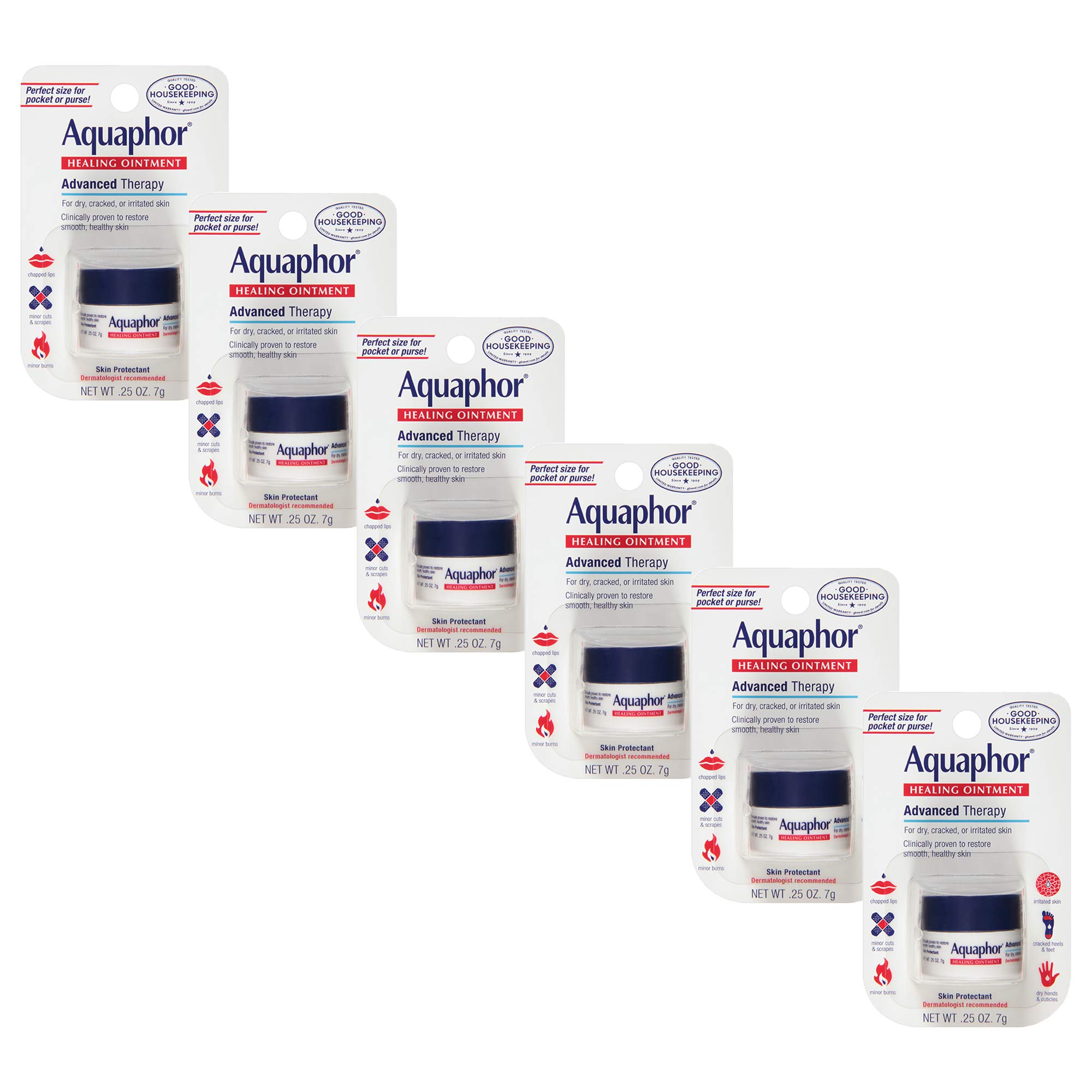 Aquaphor Healing Ointment - Pack of 6, To Relieve Chapped, Dry, Cracked Skin On-the-Go - .25 oz. Mini Jar