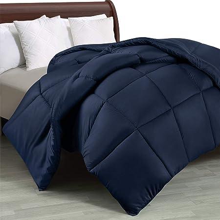 Utopia Bedding Edredón de Fibra 200x200 cm, Fibra Hueca siliconada, 1480 gramo (Azul Marino, Cama 105-200 x 200 cm)