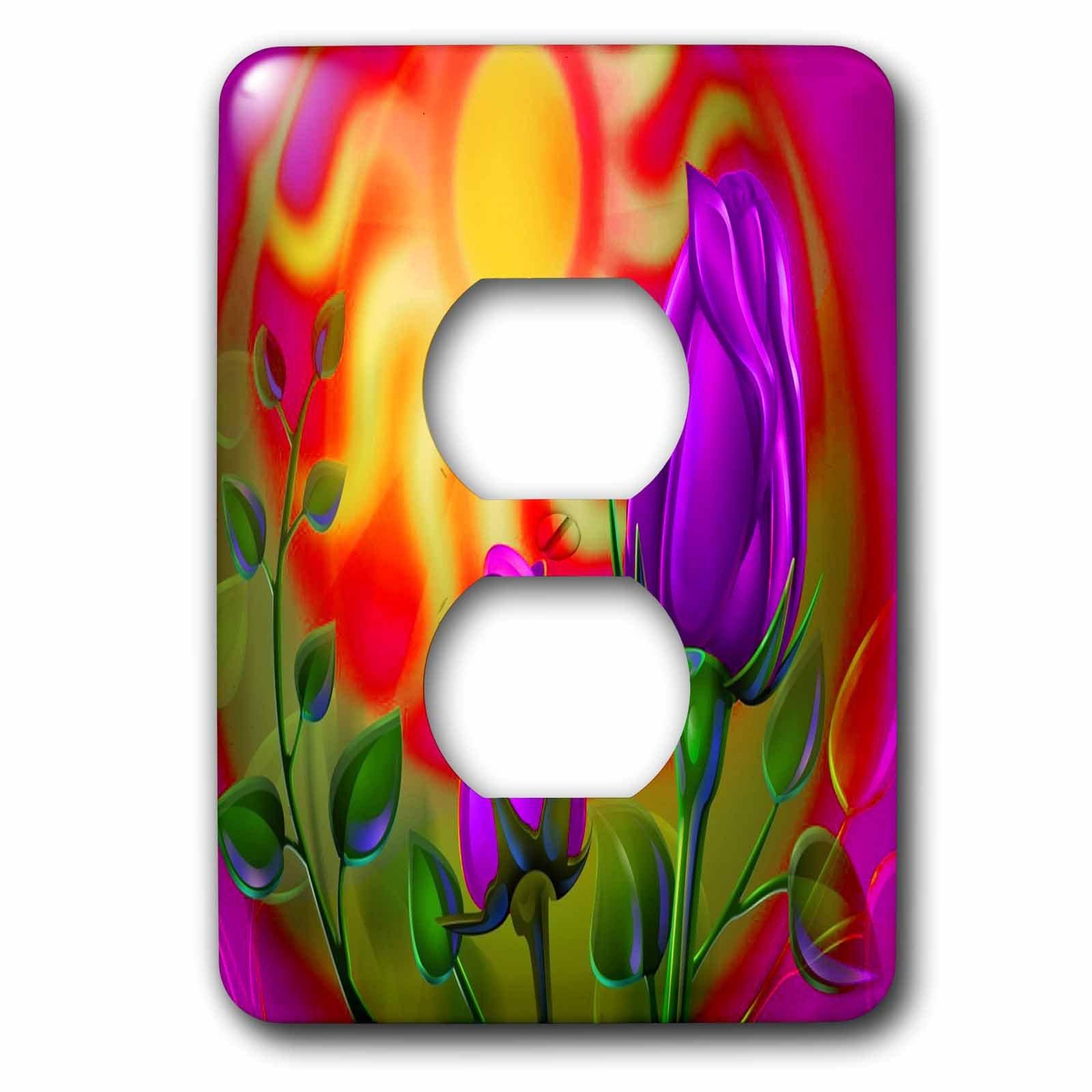 3dRose lsp_184674_6 Purple Fractal Roses & Sunset Art 2 Plug Outlet Cover
