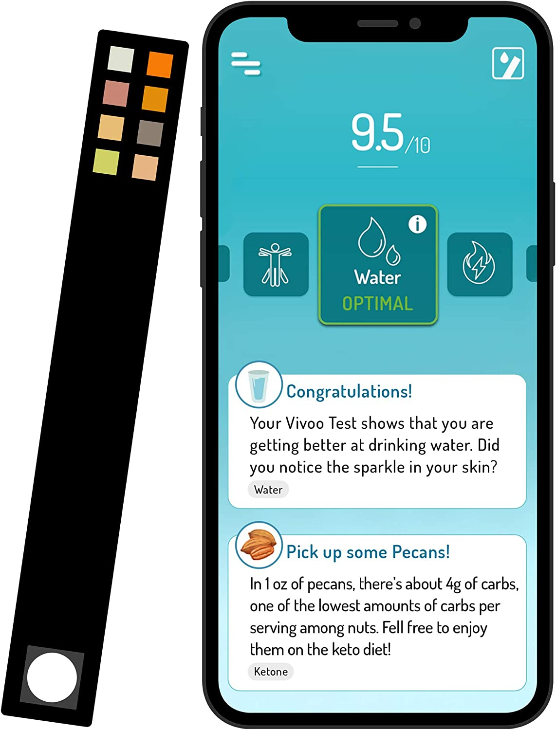 Vivoo | The ONLY Urine Test Strips & Keto Strips with App | Keto Strips Urine Test, Urinalysis Test Strips, Ketone Test Strips, Keto Test Strips, Urine Test Strips for Infection | 1 Month / 4 Strips