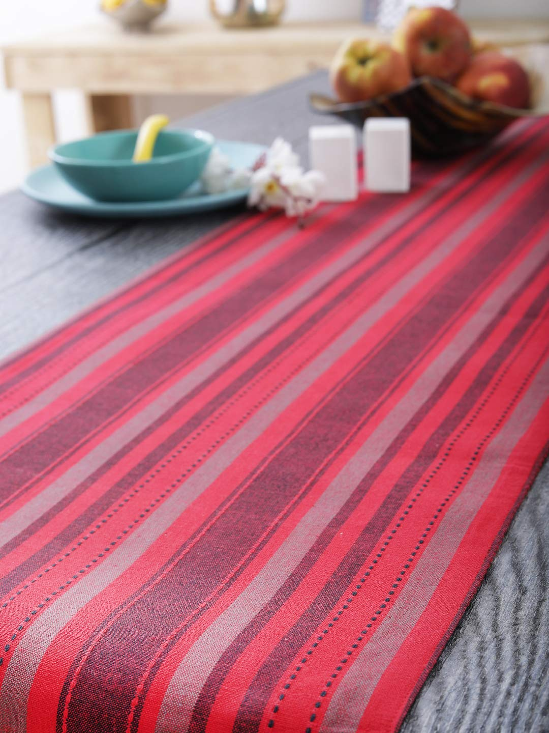 Thanks Giving Dinner Parties Table Runners Perfect for Christmas Textured Stripe BBQs and Everyday Use 14 X 72 Soft Line 14 X 72 100/% Cotton